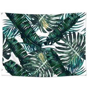 Palm banana leaf print tapestry leaves